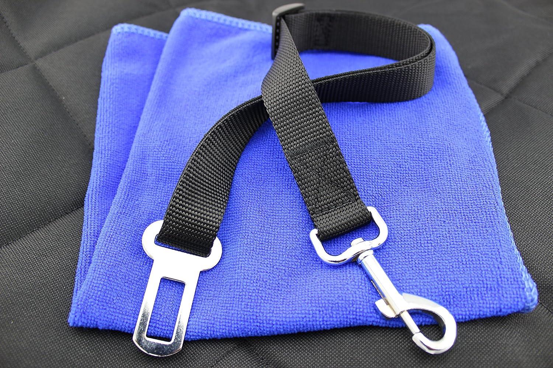 Hunde Sicherheitsgurtadapter, Sicherheitsgurt doppelt genäht, verstellbar, von MerlBo (schwarz) zum Fixieren vom Hund im Auto