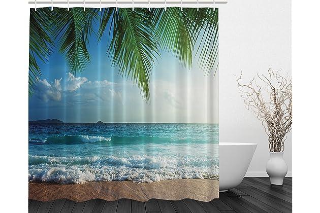 Ambesonne Palms Ocean Tropical Island Beach Decor Maldives High Resolution Photography Home Postcard Bathroom Textile Leisure Traveler Explorer Print