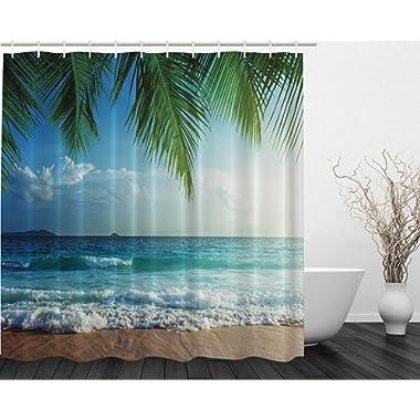 Ambesonne Palms Ocean Tropical Island Beach Decor Maldives High Resolution Photography Home Postcard Decor Bathroom Textile Leisure Traveler Explorer Print Fabric Shower Curtain