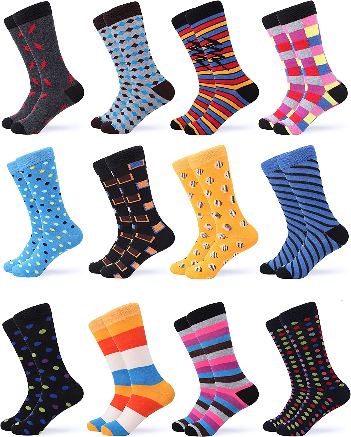 Funky Colorful Socks for Men 12 Pack Gallery Seven Mens Dress Socks