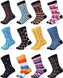 Gallery Seven Mens Dress Socks - Funky Colorful Socks for Men - 12 Pack