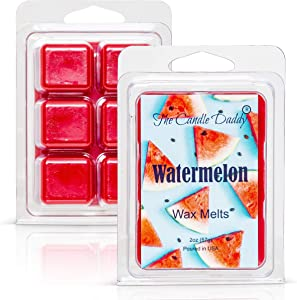 Watermelon - Sweet, Sugary Fruit Scented Melt- Maximum Scent Wax Cubes/Melts- 1 Pack -2 Ounces- 6 Cubes Gift for Women, Men, BFF, Friend, Wife, Mom, Birthday, Sister, Daughter, Long Lasting Wax Tart
