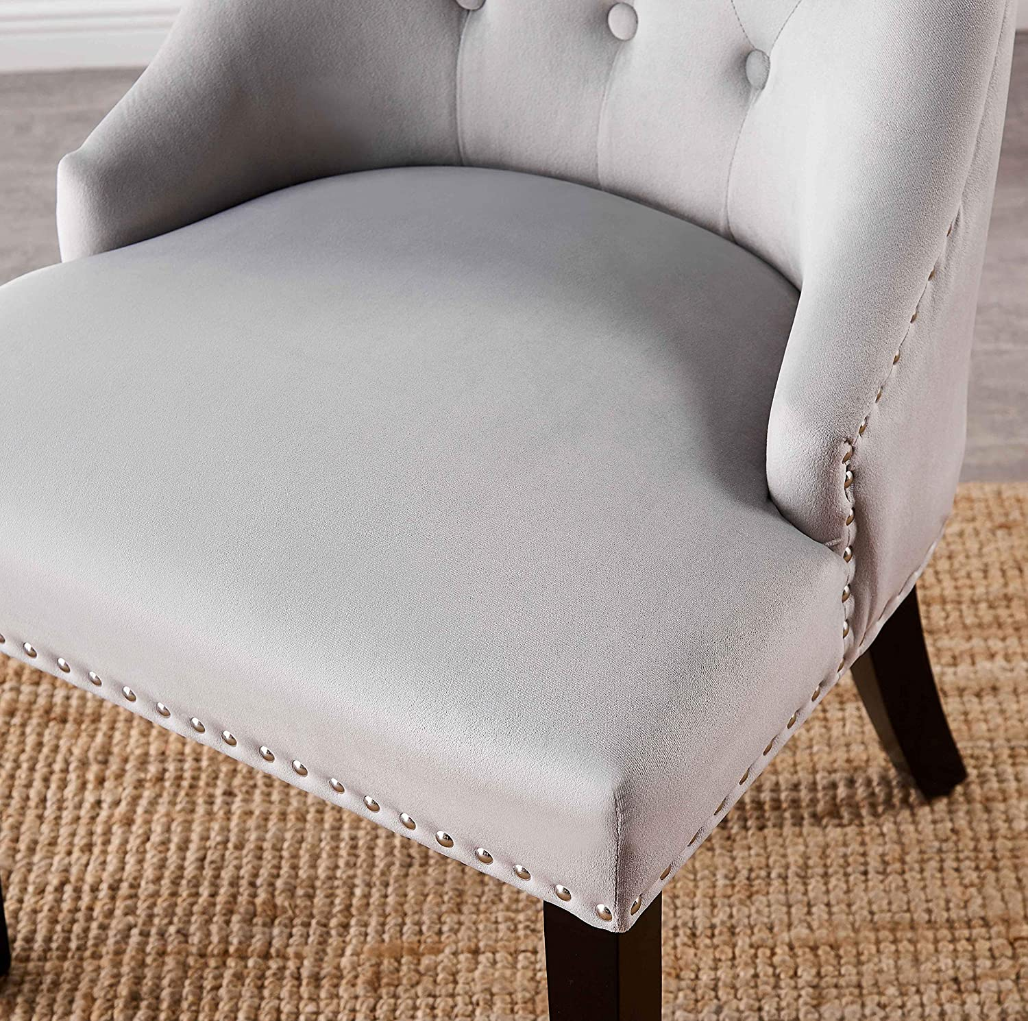 Dining Chair Studded Light Grey Upholstered Accent Side Chair Door Knocker Windsor Chair P/&N Homewares FREE NEXT DAY DELIVERY Tufted Velvet Fabric