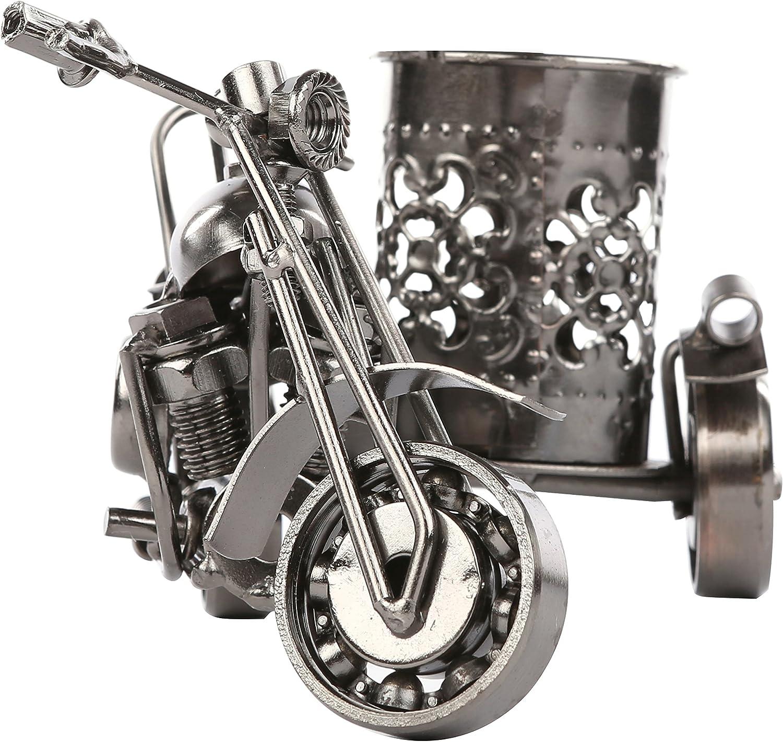 MyGift Motorcycle & Sidecar Pencil Pen Holder, Collector Style Decorative Office Desktop Organizer, Gunmetal Gray