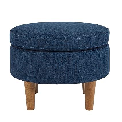 Amazon Svitlife Irene Blue Round Ottoman Coffee Table Wheels Simple Pouf On Wheels