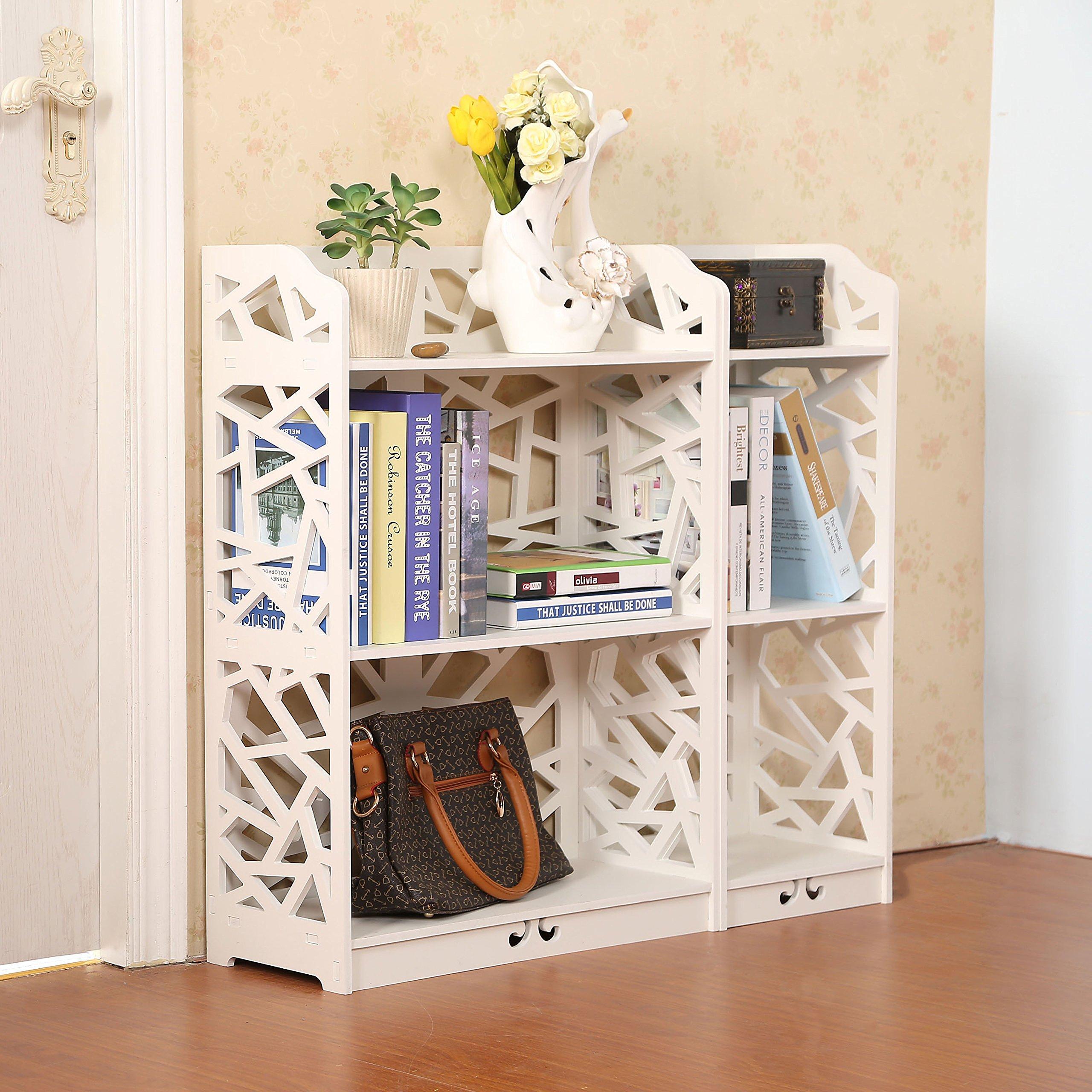 D-Line Wood and Plastic Bookcase Bookshelf Storage Shelf, White, Set of 2 by D-Line