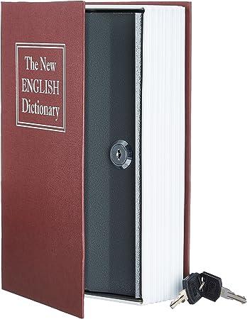 AmazonBasics - Caja de seguridad en forma de libro - Cerradura con llave - Rojo: Amazon.es: Bricolaje y herramientas