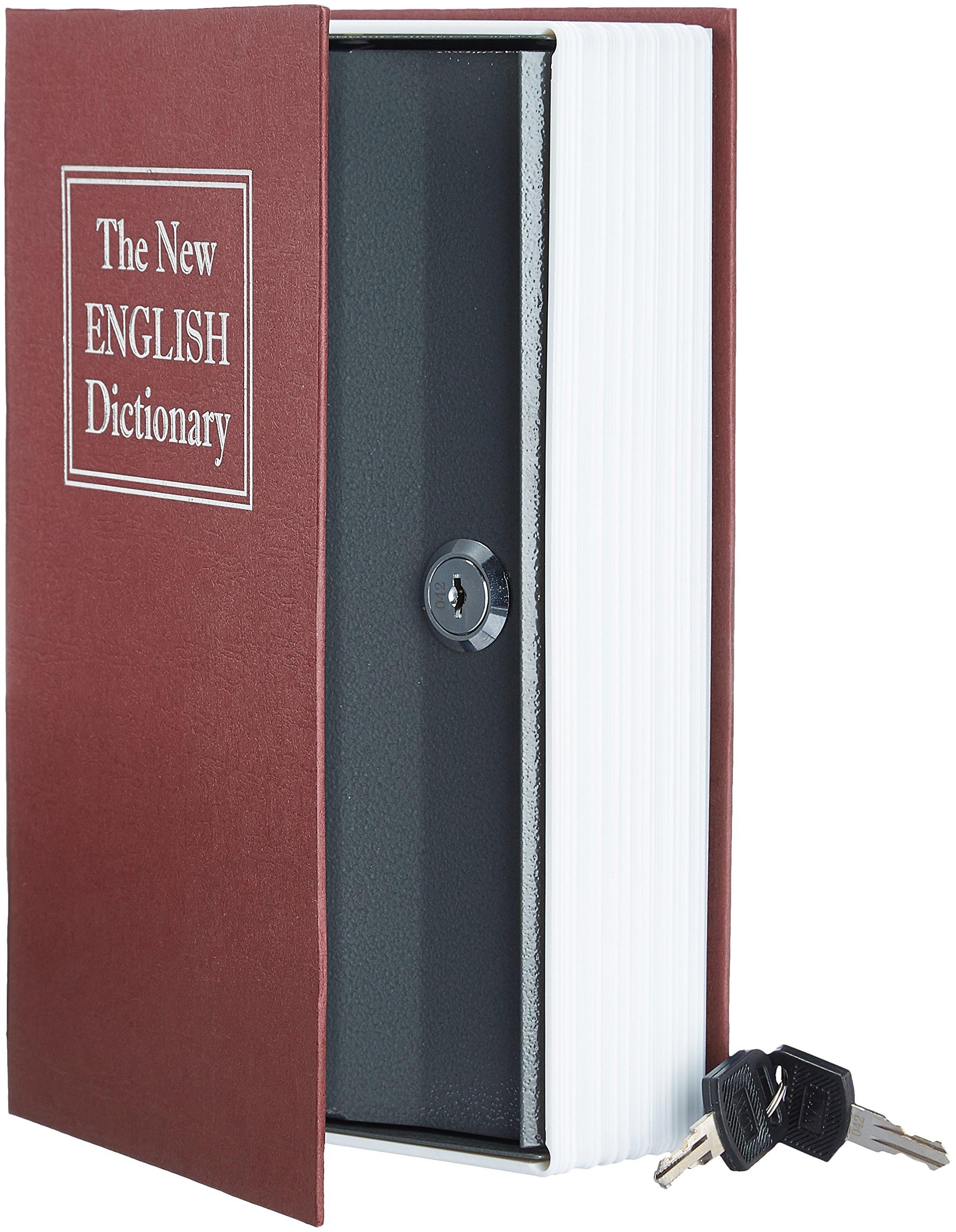 AmazonBasics - Caja de seguridad en forma de libro - Cerradura con llave - Rojo product