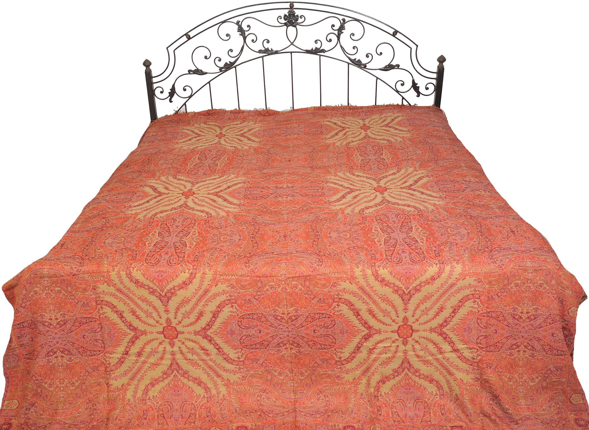 Tomato-Puree Reversible Jamawar Bedspread from Amritsar with Woven Paisleys - Pure Cotton Wool