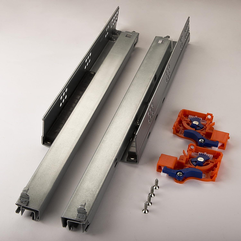 1 Paio SO-TECH/® Guide per Cassetti a Uscita Totale FullSlide 550 mm per Cassetti in Legno con Push-to-Open Apertura a Pressione