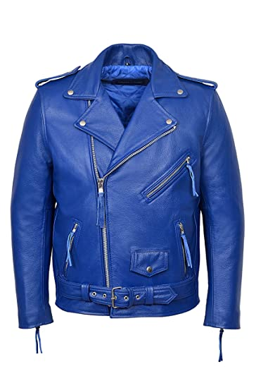 1d5bb6cdf0ef Brando Blue Men's Classic Motorcycle Biker Cowhide Real Rock Leather Jacket  ...