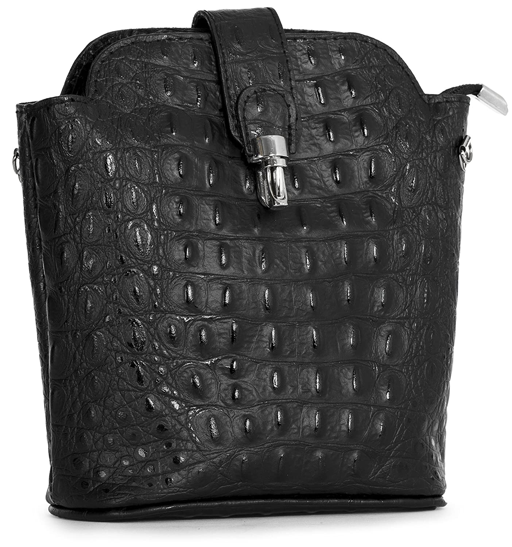 a3a684f8f02 Big Handbag Shop Small Mini Real Leather Cross Body Bag in Plain, Ostrich  or Crocodile Design