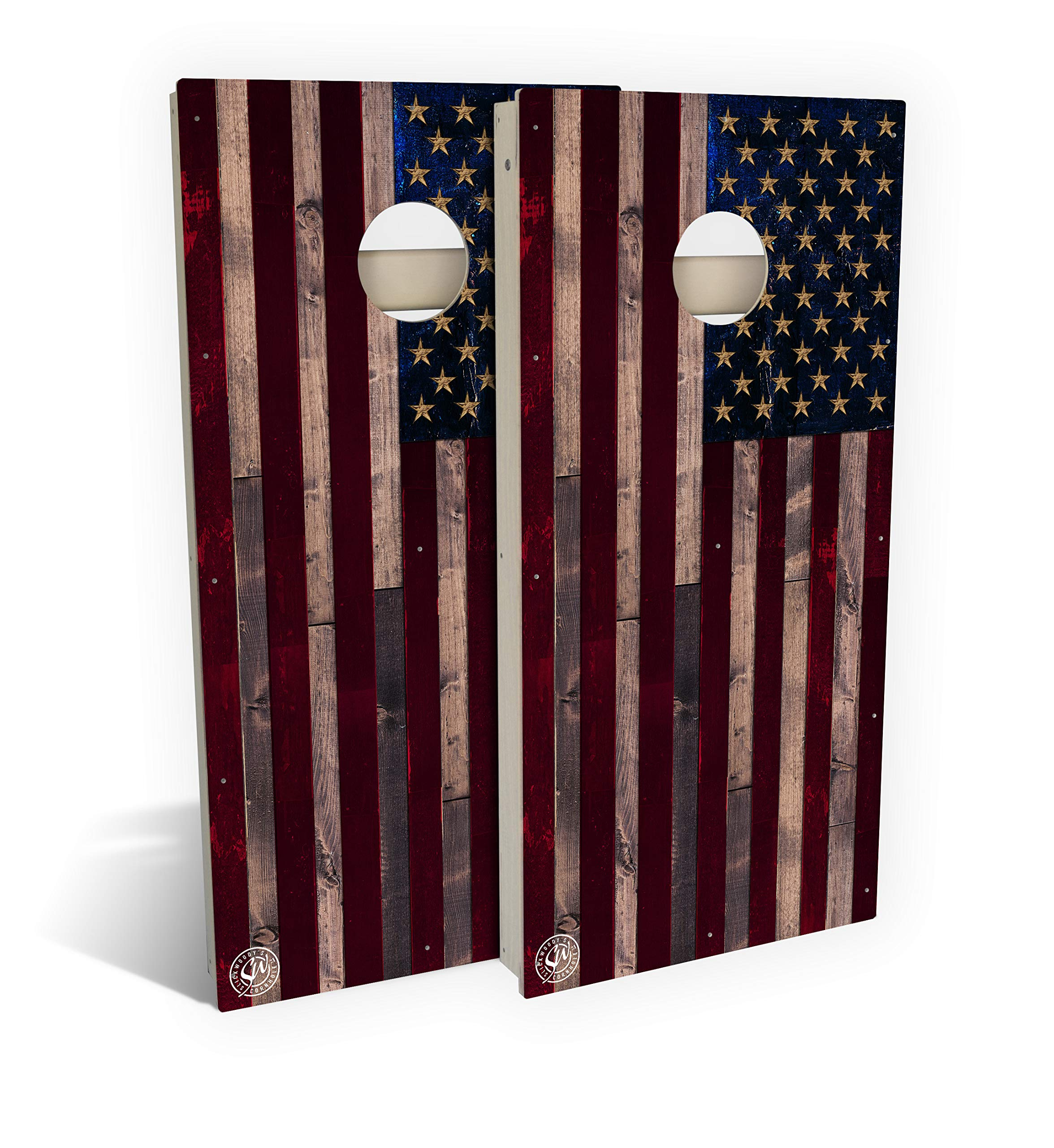 Slick Woody's All Weather Composite 4'x2' Regulation American Flag Cornhole Boards Set;