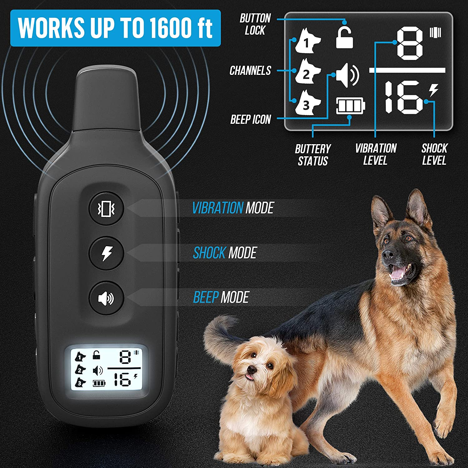 Yox Waterproof Dog Training Collar With Remote Static Shock, Vibration, Beep 3 Training Modes 1200 Foot Range For Dogs 15-100 LBS Adjustable Levels Locking Keypad To Prevent Accidental Shocks