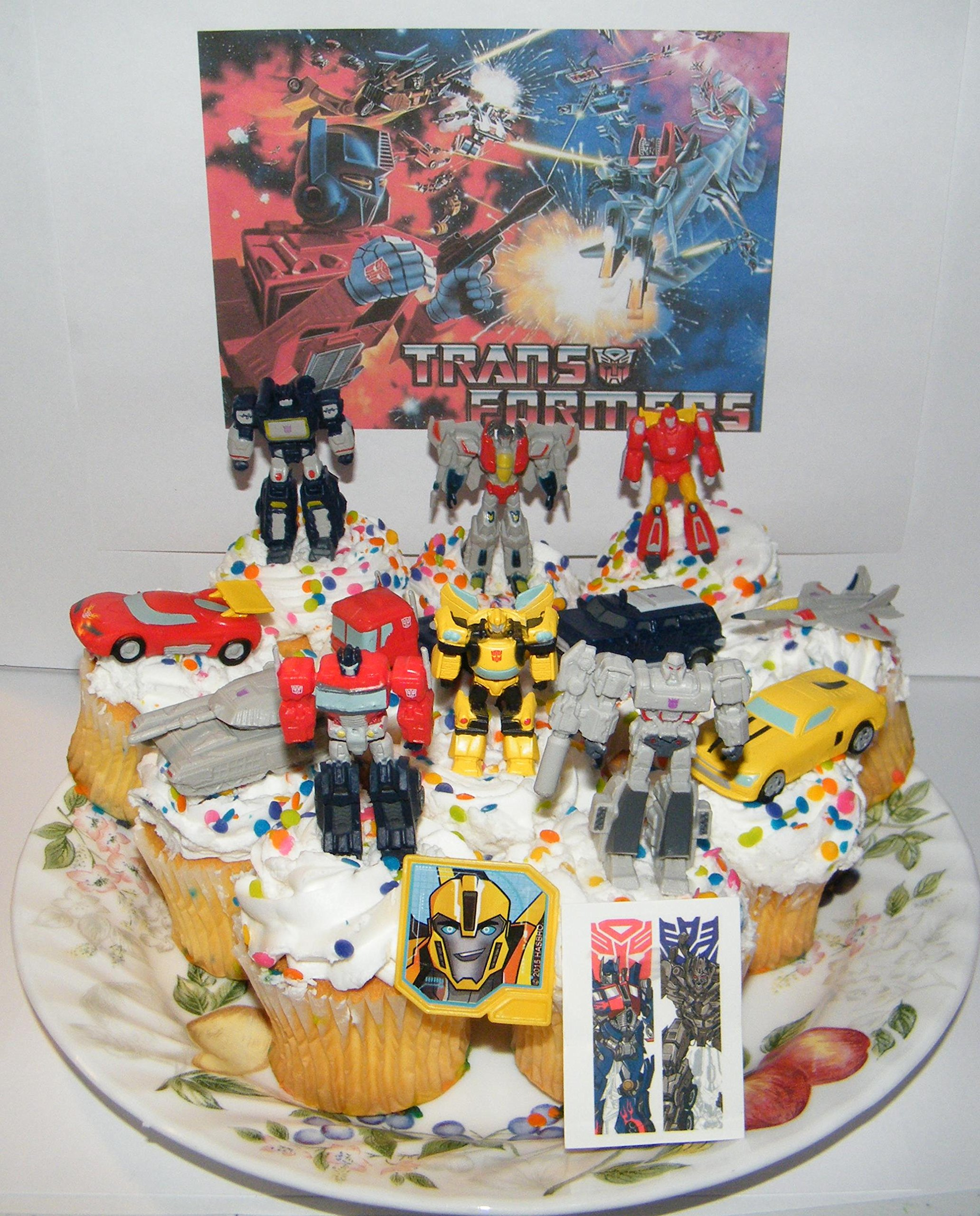 Transformers Deluxe Mini Cake Toppers Cupcake Decorations Set of 14 with 12 Figures and Vehicles, Special Tattoo and ToyRing Featuring Optimus, Bumblebee, Megatron and More! by Party decor Inc