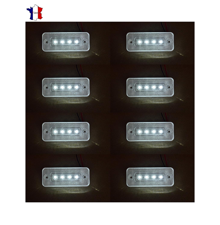 8X 24V 4 LED FEUX DE GABARIT LATERAUX BLANC CAMION CARAVANE BUS VAN REMORQUE