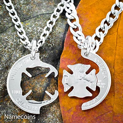 Firefighter and beloved Wife Necklace set, Fireman couples interlocking coin