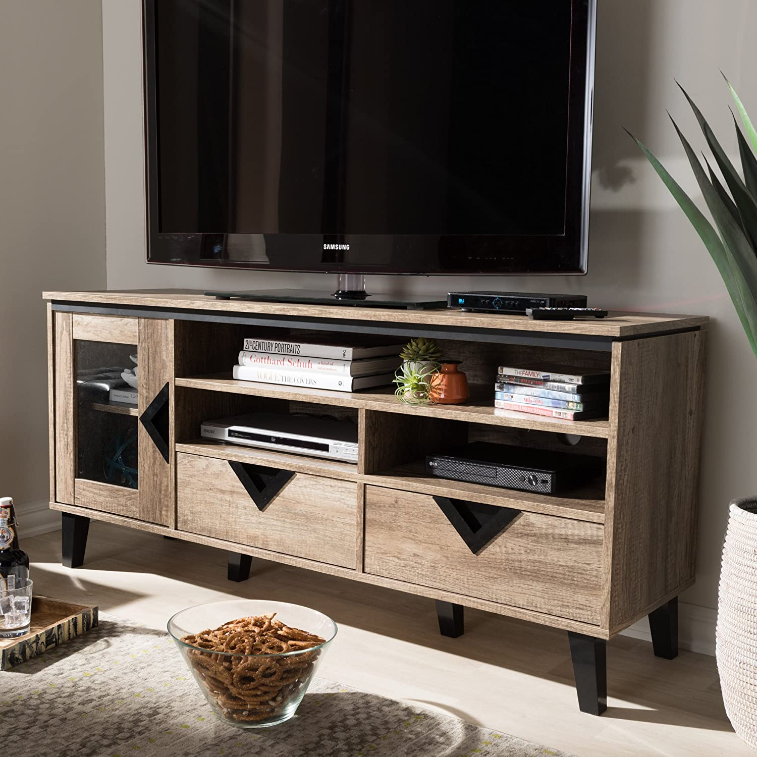 TV Stand in Light Brown Finish