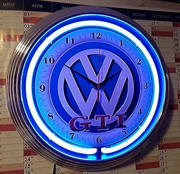 Neon Clock Neonuhr Vw Volkswagen Gti Retro Reklame Wanduhr