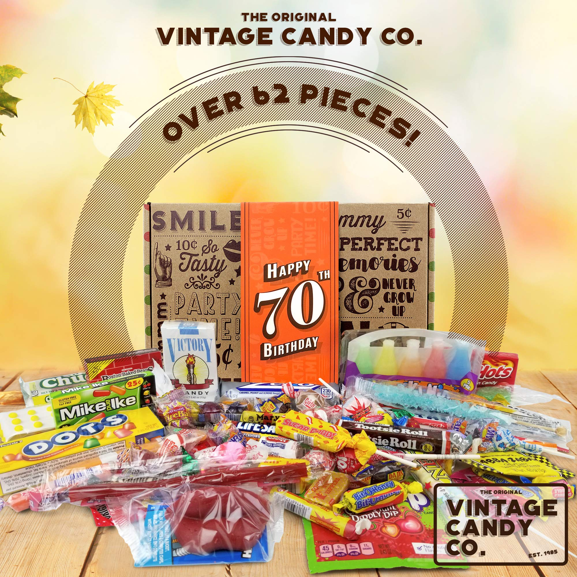 VINTAGE CANDY CO. 70TH BIRTHDAY RETRO CANDY GIFT BOX - 1949 Decade Nostalgic Childhood Candies - Fun Gag Gift Basket for Milestone SEVENTIETH Birthday - PERFECT For Man Or Woman Turning 70 Years Old by Vintage Candy Co. (Image #2)