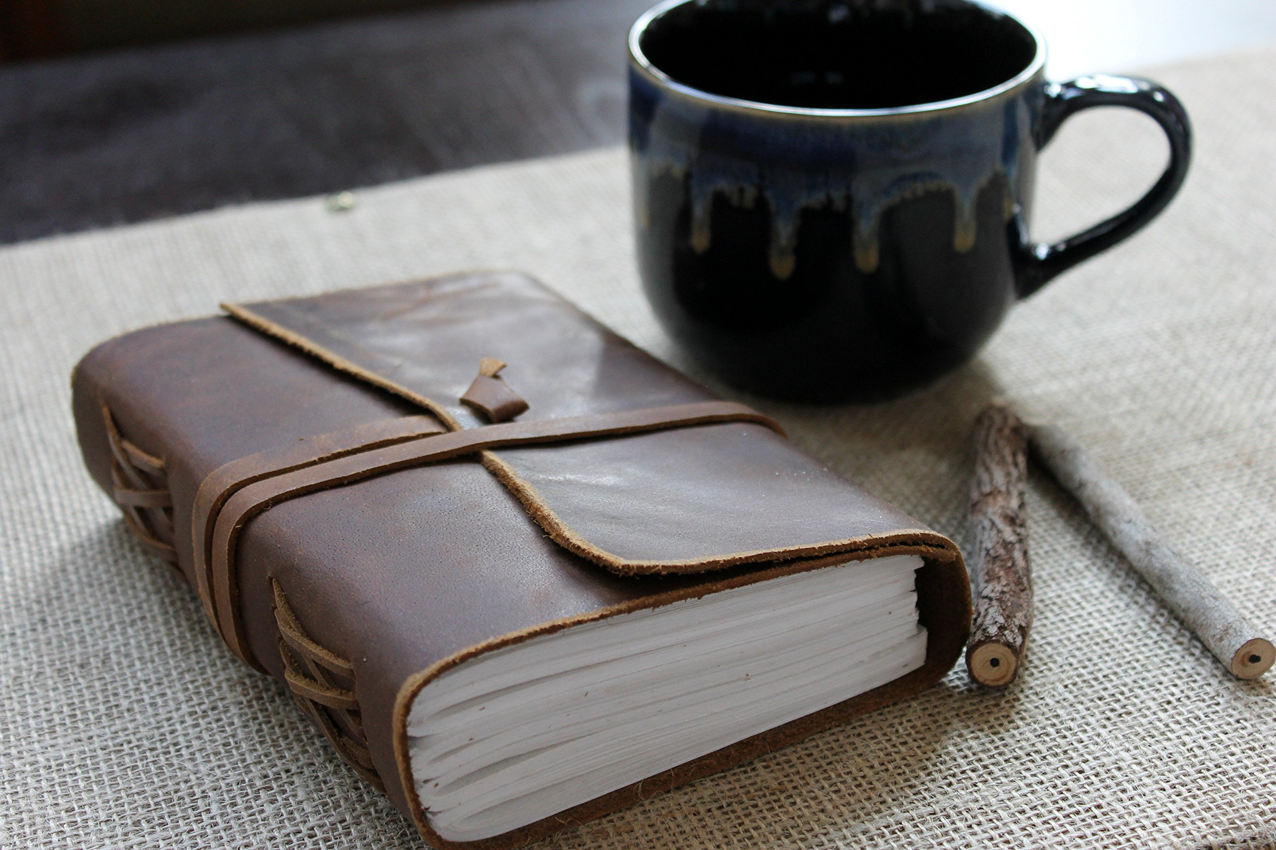 Antique Dark Brown Crazy-Horse Wax Leather Journal (Handmade) - Leather Cord Coptic Bound and leather tie closure -SPECIAL OFFER NOW + 10% OFF!
