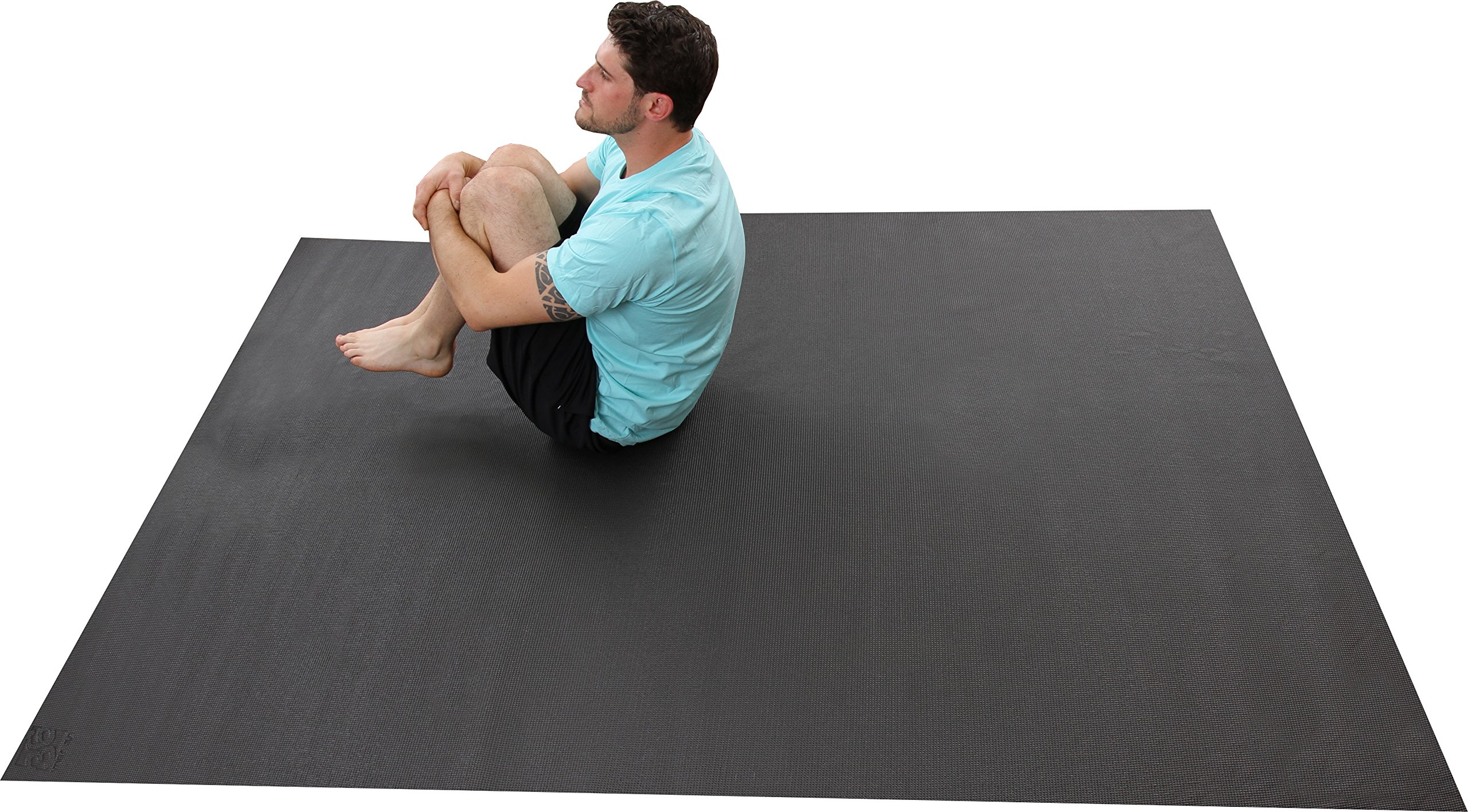 The Largest YOGA Mat Available. 8 Ft x 6 Ft x 6mm Thick. Ideal For Home Yoga Studios. Made From The Highest Grade Premium Non-Toxic Materials. Designed for Home-based Yoga, Stretching, Or Meditation. by Square36 (Image #5)