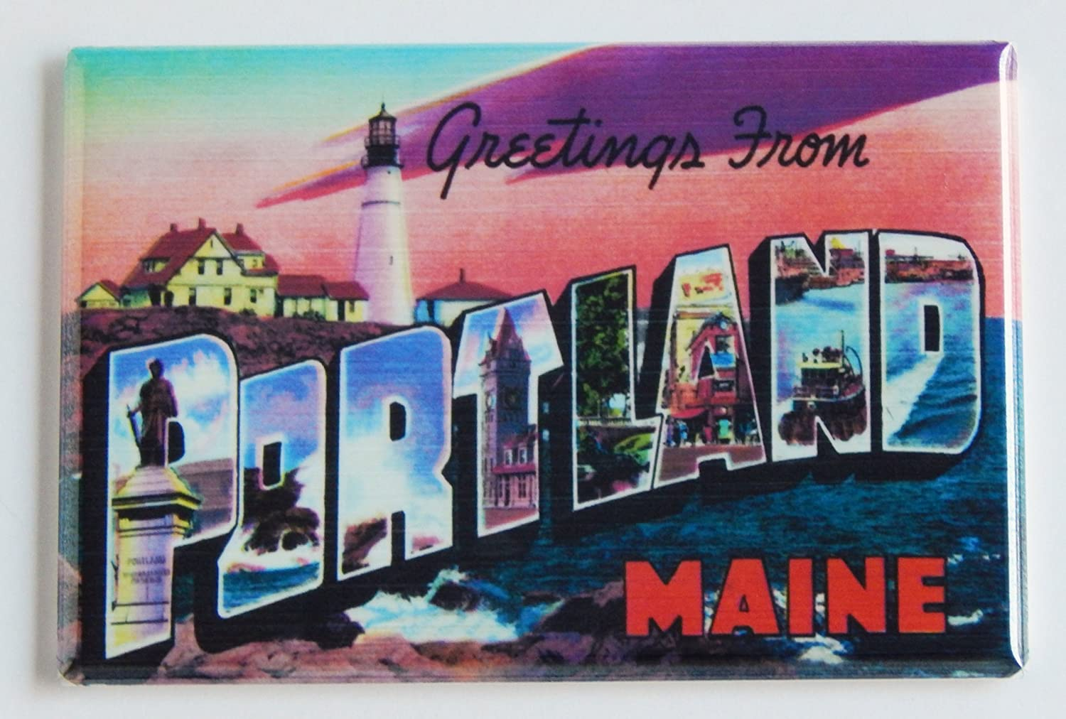 Greetings From Portland Maine Fridge Magnet (2 x 3 inches)