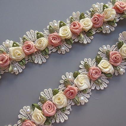 1 Meters Vintage Apricot Lace Edge Trim Ribbon Wedding Applique DIY Sewing Craft