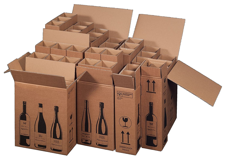 5 x Cajas de Cartón de botellas de vino de cartón para 6 ...