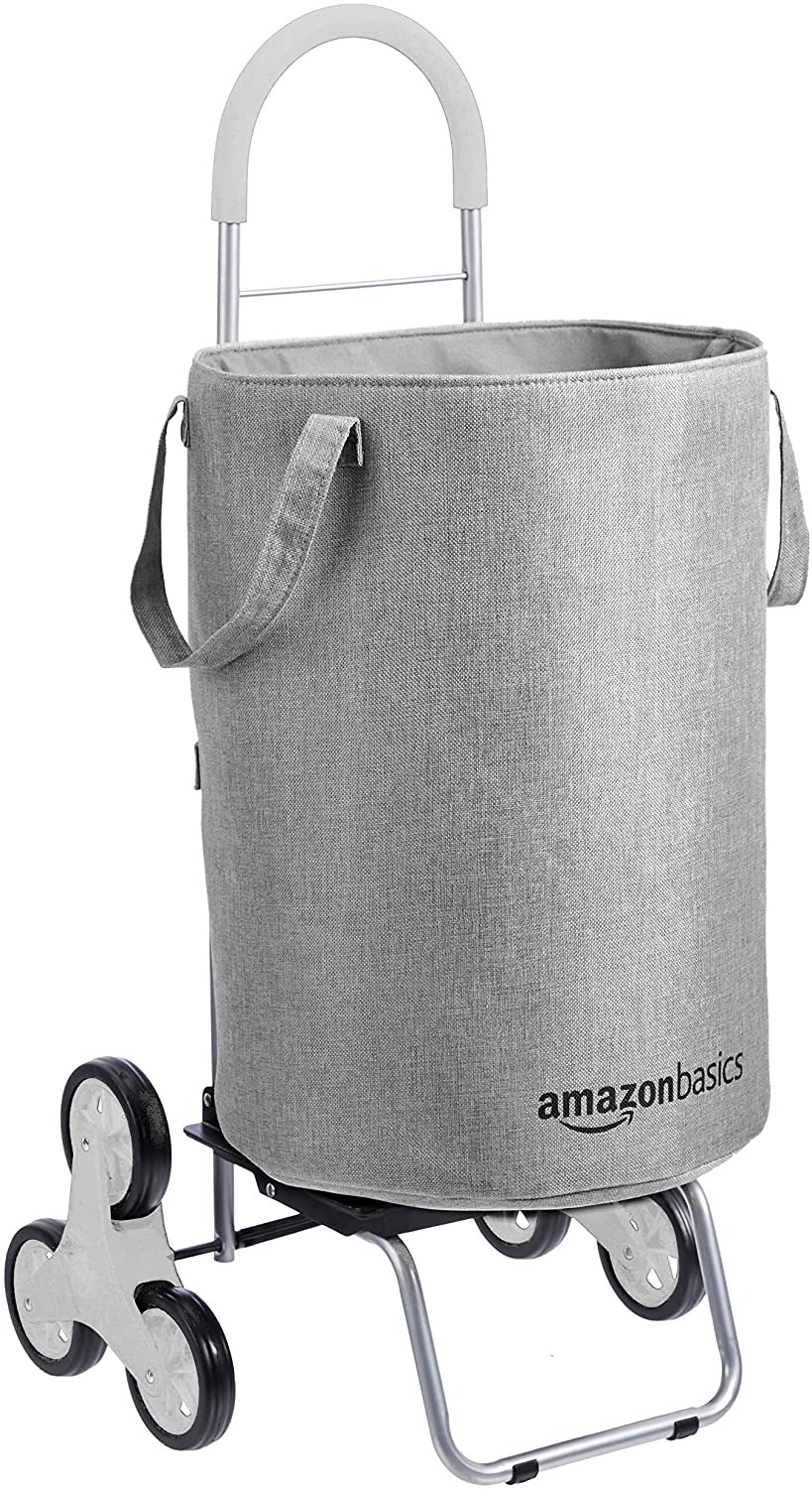 AmazonBasics Stair Climber Rolling Laundry Hamper Converts into Dolly, 38 inch Handle Height, Grey