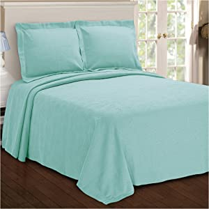 SUPERIOR Paisley Jacquard Matelassee Bedspread - 100% Cotton Quilt with Matching Pillow Shams, Matelassee Coverlet, Aqua, King Size