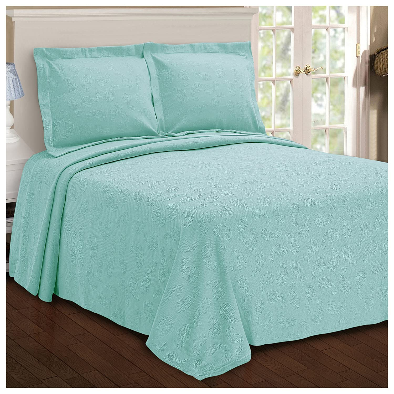 Superior Paisley Jacquard Matelassé 100% Premium Cotton Bedspread with Matching Shams, Full, Aqua BEDSPREAD PAISE-FL-AQ