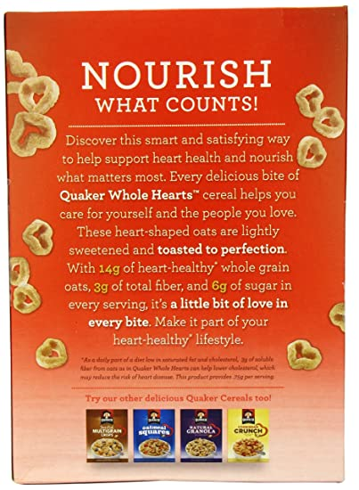 Quaker Whole Corazones, 12.3-ounce Caja de cereales: Amazon ...