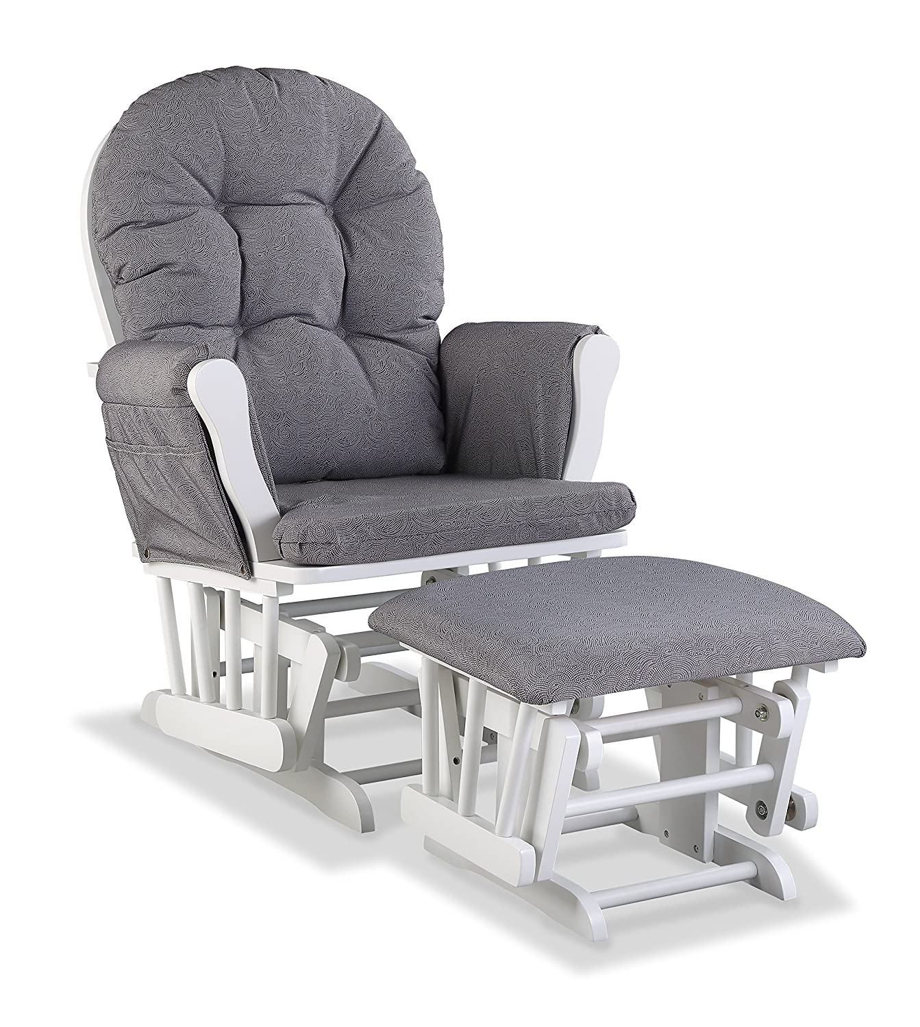 Storkcraft Hoop Custom Glider and Ottoman, White/Slate Gray Swirl 06550-6151