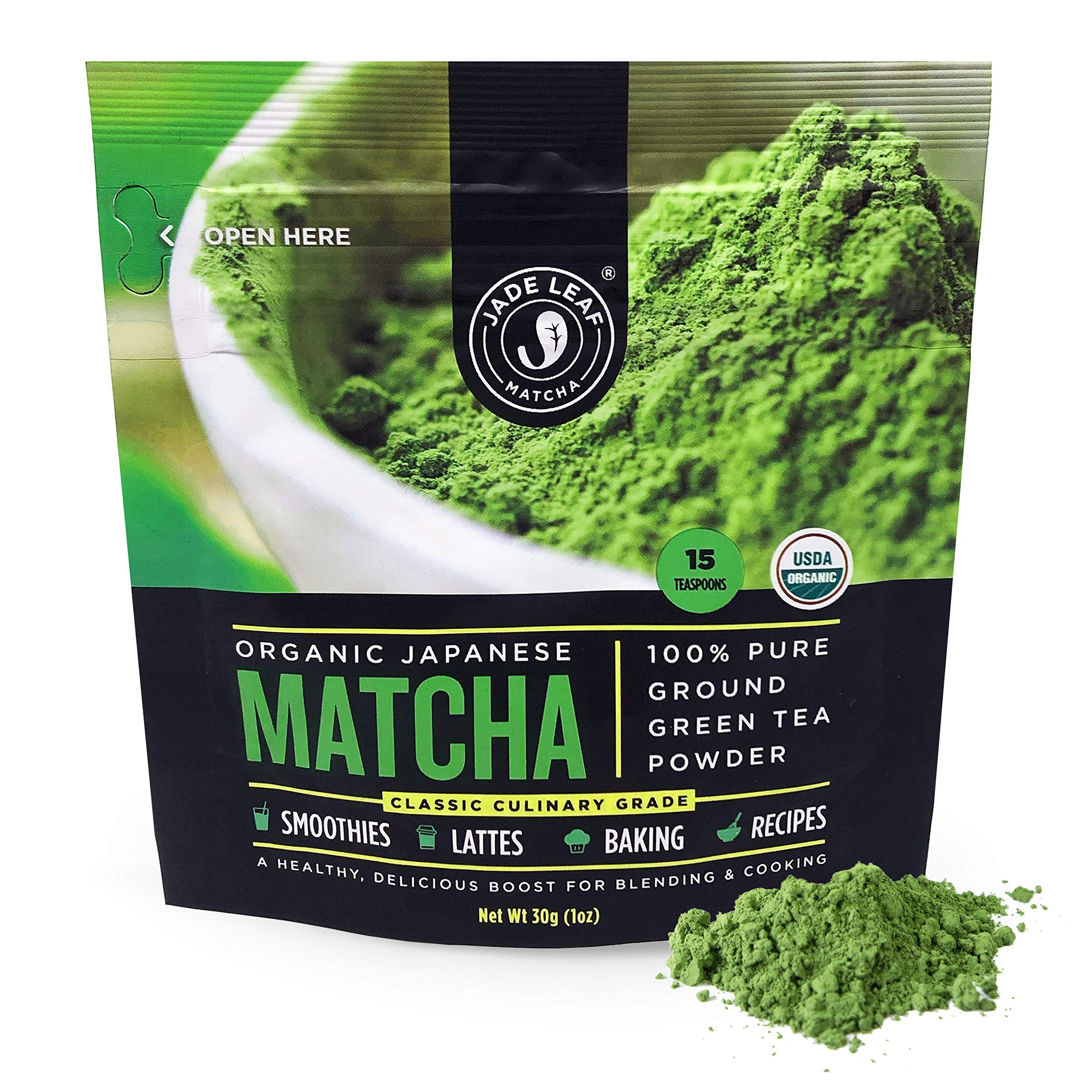 Jade Leaf Matcha Green Tea Powder - USDA Organic, Authentic Japanese Origin - Classic Culinary Grade (Smoothies, Lattes, Baking, Recipes) - Antioxidants, Energy [30g Starter Size] by Jade Leaf Matcha