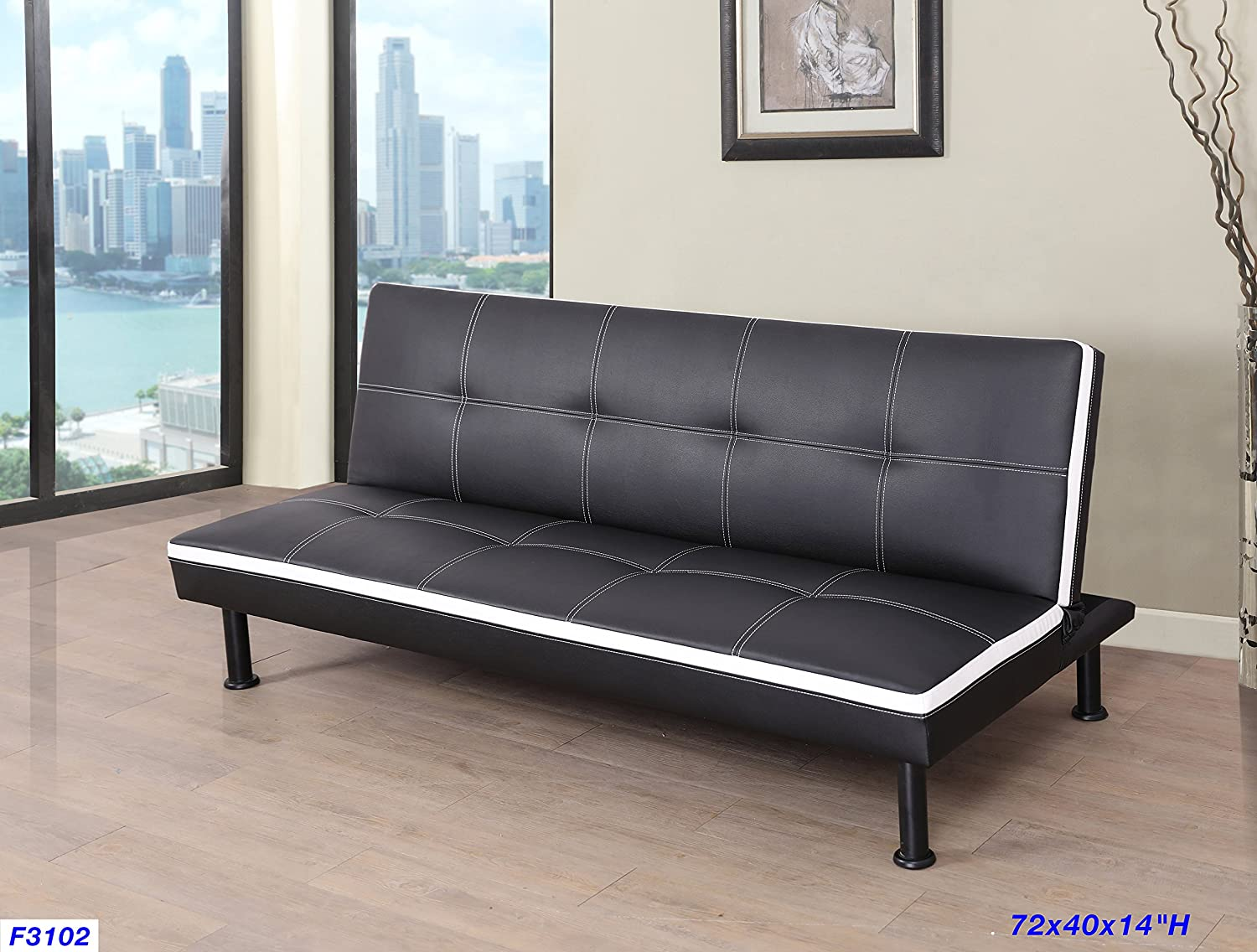 Beverly Furniture F3102 Futon Convertible Sofa, Black/White Beverly Fine Furniture