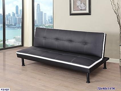 Amazon.com: Beverly Furniture F3102 Futon Convertible Sofa Black ...