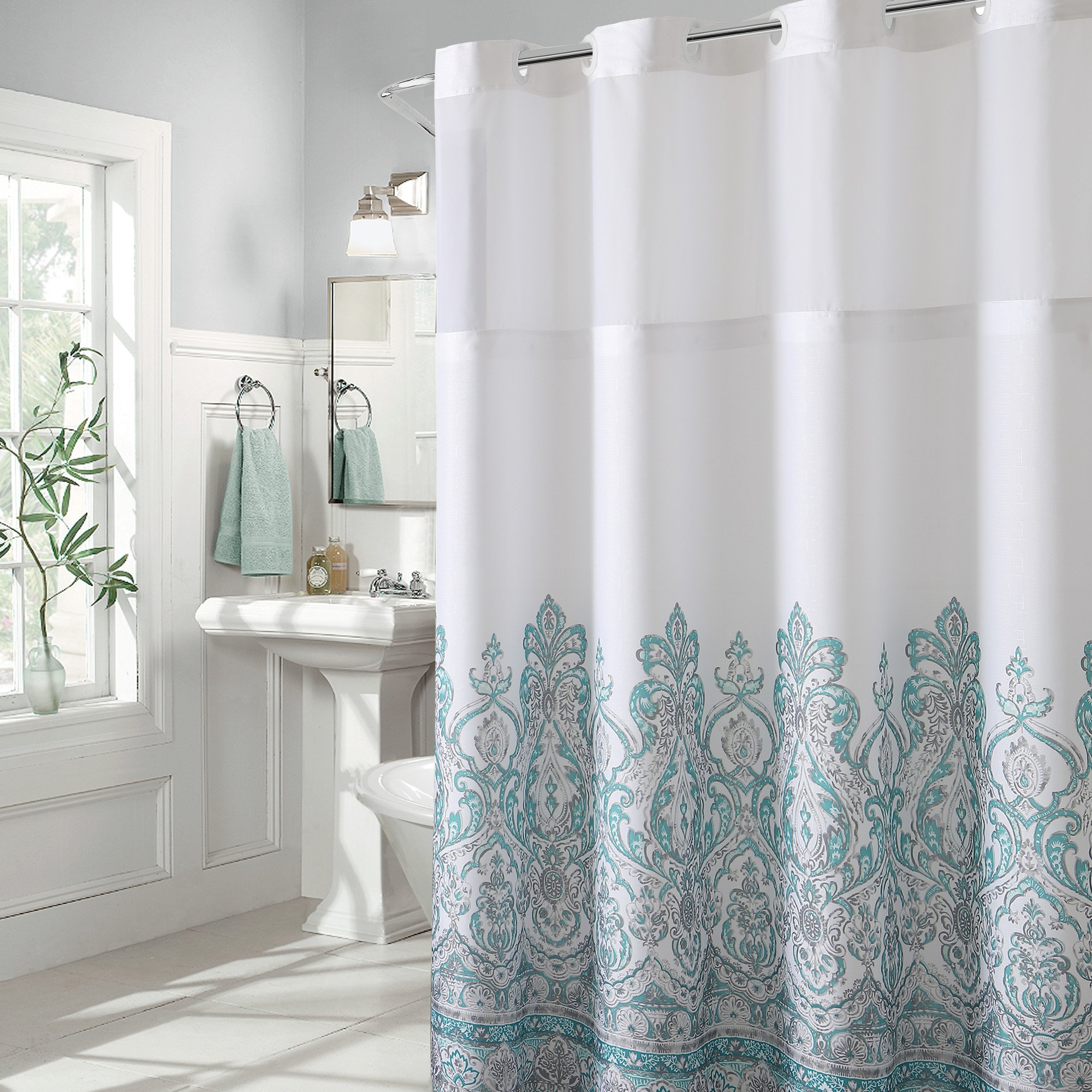 Hookless Damask Border Print Shower Curtain
