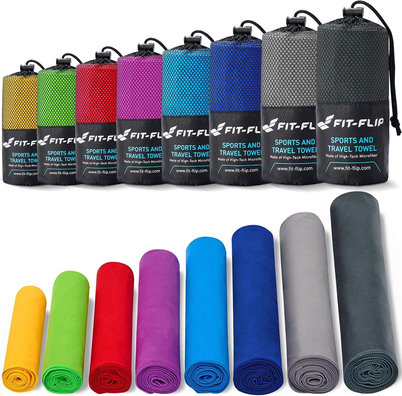 Fit-Flip Toalla Microfibra – en 11 Colores, 8 tamaños – compacta y de Secado rápido – Toalla Microfibra Grande – Toalla Fitness Gimnasio y Toalla ...