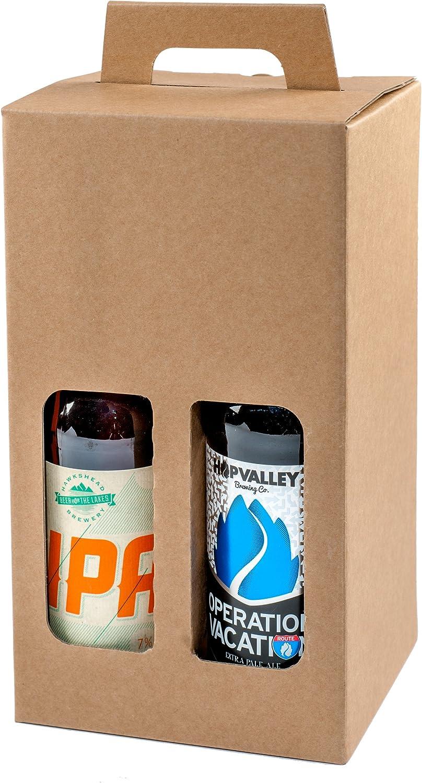 Pack de 20 – 4 cajas de regalo para botellas de cerveza de 330 ml (marrón liso): Amazon.es: Oficina y papelería