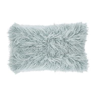 SARO LIFESTYLE Mongolian Faux Fur Poly Filled Throw Pillow