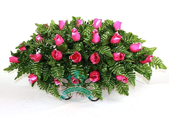 Amazon xl hot pink roses silk flower cemetery tombstone saddle xl hot pink roses silk flower cemetery tombstone saddle arrangement mightylinksfo