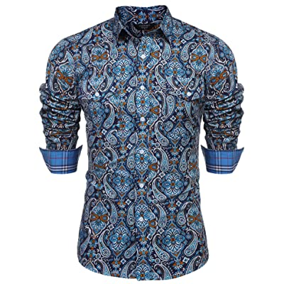 COOFANDY Men's Floral Dress Shirt Slim Fit Casual Paisley Printed Shirt Long Sleeve Button Down Shirts: Clothing