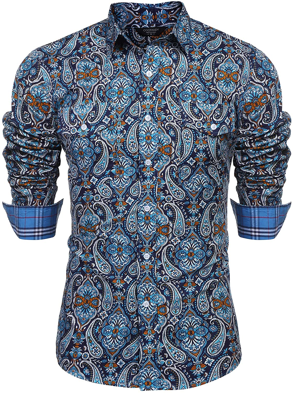HUPLUE Mens Casual Business Long Sleeve Dress Shirt Button Down Regular Fit Shirt Sky Blue