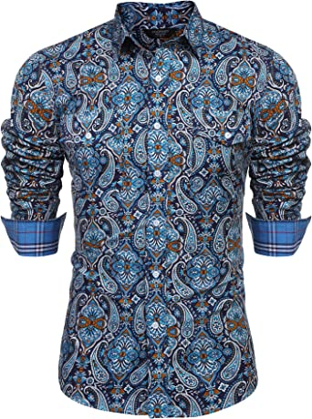 Alion Men Floral Dress Shirt Slim Fit Casual Long Sleeve Button Down Shirts