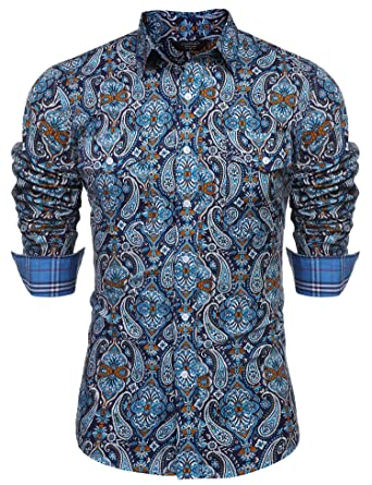 129cdcde6aa407 COOFANDY Mens Floral Dress Shirt Slim Fit Casual Paisley Printed Shirt Long  Sleeve Button Down Shirts