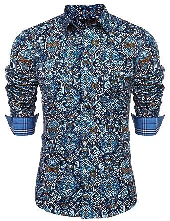 COOFANDY Mens Floral Dress Shirt Slim Fit Casual Paisley Printed Shirt Long  Sleeve Button Down Shirts 099059ac8