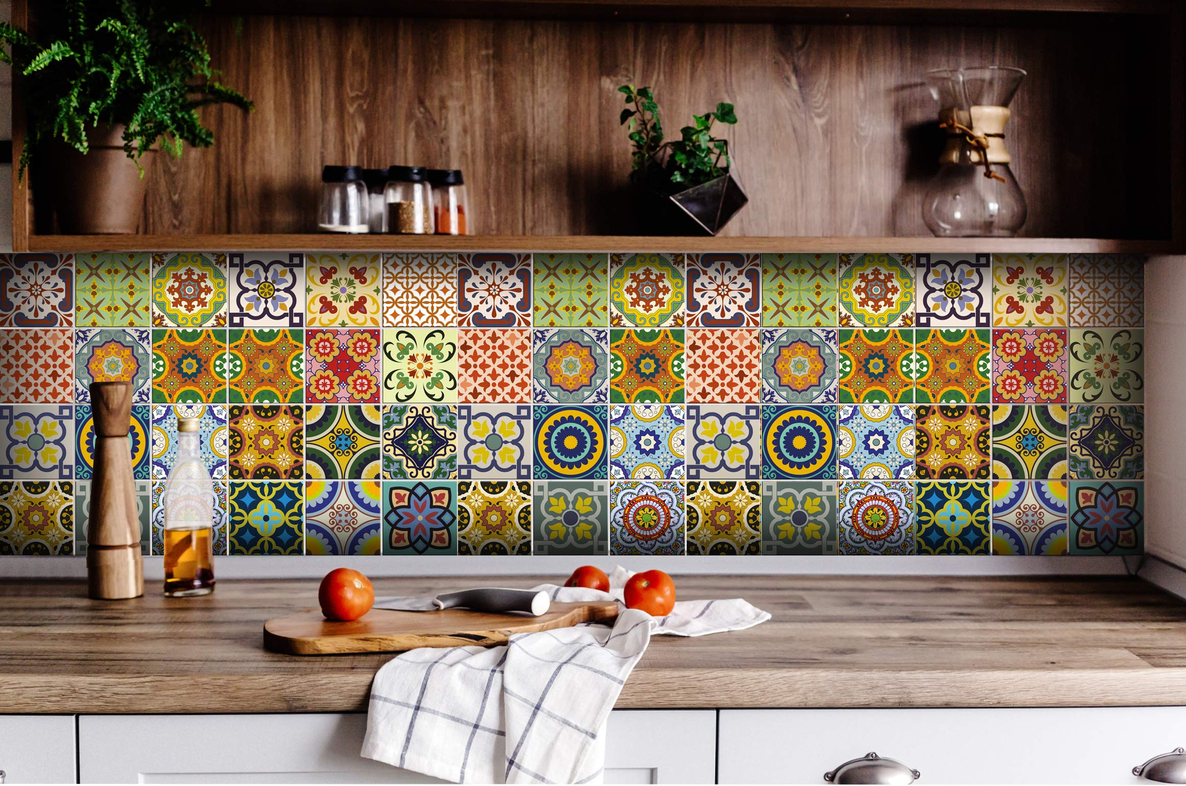 Tile Stickers 24 PC Set Traditional Talavera Tiles Stickers Bathroom & Kitchen Tile Decals Easy to Apply Just Peel & Stick Home Decor 6x6 Inch (Kitchen Tiles Stickers C1) by Alma-Art (Image #4)