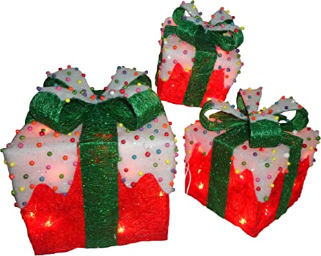 National Tree Set Of 3 Red Sisal Gift Boxes With Bow And 50 Clear Lights Mzgb Asst 35l Home Kitchen