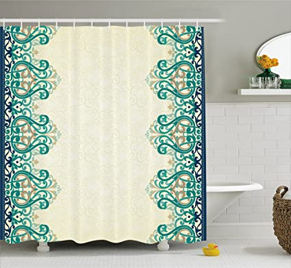 Ambesonne Damask Shower Curtain, Ornamental Lace Like Border Victorian  Style Pattern Design Illustration, Fabric